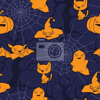 Wektor tła z obiektów związanych z Halloween i stworzeń.