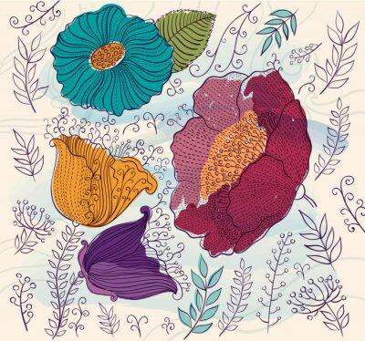 Naklejka Wektor tła z pięknych kolorowych kwiatów i liści
