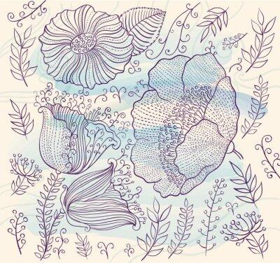 Naklejka Wektor tła z pięknych kwiatów i liści