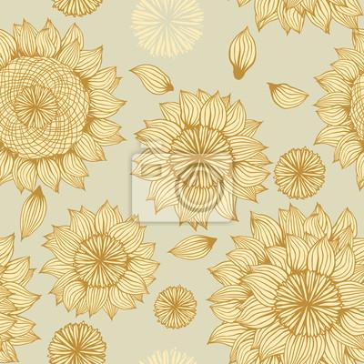 Wektor tła z ręcznie rysowane kwiaty. (Bez szwu)