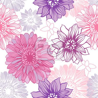 Wektor tła z ręcznie rysowane kwiaty. (Bez szwu deseń)