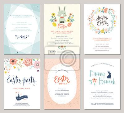 Wektor Wielkanoc Zaproszenia na Party i karty z pozdrowieniami z jajami, kwiaty, wieniec kwiatowy, królik i typografii projektowania na teksturowanej tle.