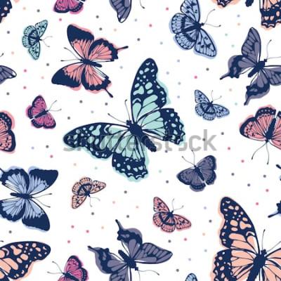 Naklejka Wektor wzór motyle. Streszczenie bezszwowe tło.