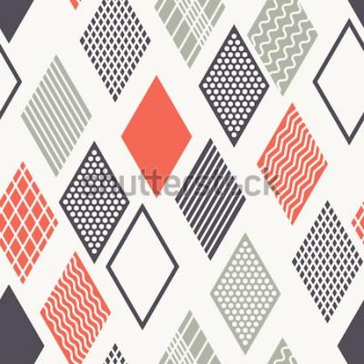 Naklejka Wektor wzór Nowoczesna stylowa tekstura. Geometryczny ornament z kolorowymi rombami