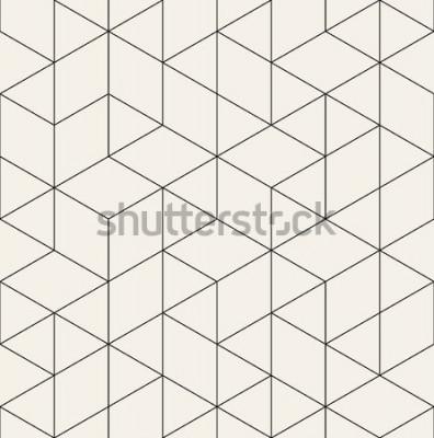 Naklejka Wektor wzór. Nowoczesna stylowa tekstura z monochromatyczną kratą. Powtarzająca się geometryczna siatka trójkątna. Prosty projekt graficzny. Modna modna święta geometria.