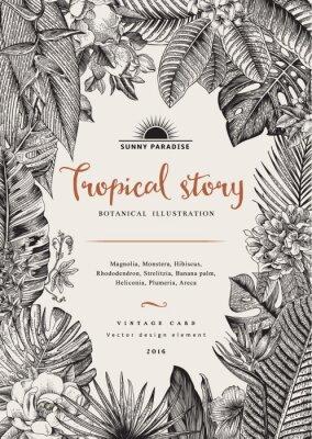 Wektor zabytkowe karty. Ilustracje z roślinami. Tropikalne kwiaty i liście. Czarny i biały