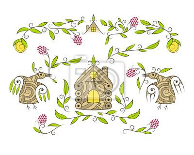 Naklejka Wektor zestaw elementów dekoracyjnych. Wspaniałe ptaki, rośliny jagodowe, przytulny dom.