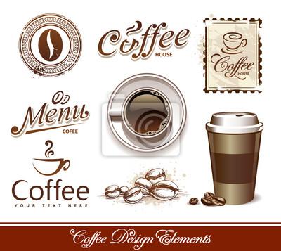 Wektor zestaw elementów projektu kawy