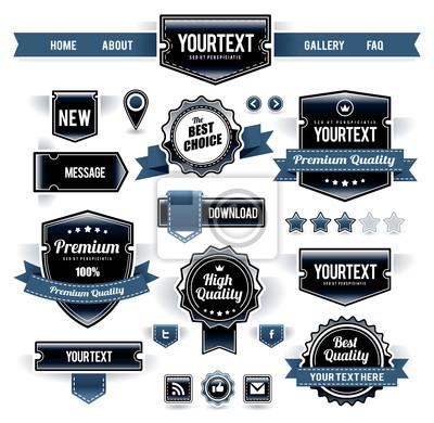 Wektor zestaw etykiet retro, przyciski i ikony.