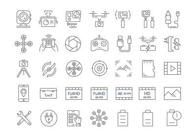Wektor zestaw ikon płaską linię działania aparatu