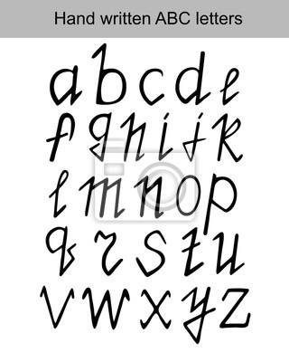 Wektor zestaw liter ABC ręcznie napisany z czarnym markerem