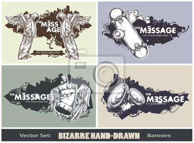 Wektor zestaw nowoczesnych szkicowy styl banery
