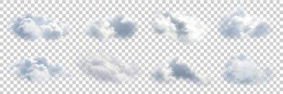 Naklejka Wektor zestaw realistyczne pojedyncze chmury na przezroczystym tle.