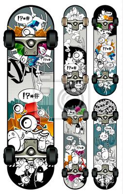 Wektor zestaw stylów deskorolki grafitti