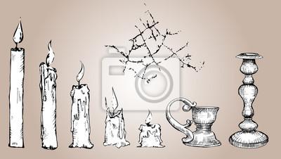 Wektor zestaw szkic Świece, czarny i biały Kolekcja starego złota świecznik, crack. Ręcznie rysowane ilustracji, Proces świecy, odizolowane.