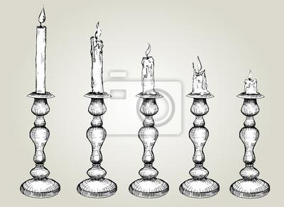 Wektor zestaw szkic świece w świeczniku. Ręcznie rysowane czarno-białych ilustracji, Proces Candle Burning.isolated