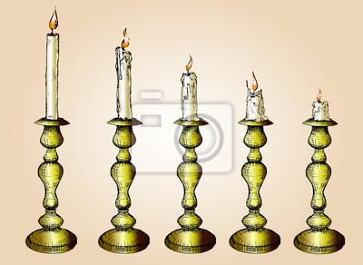 Wektor zestaw szkic Świece złota świecznika. Ręcznie rysowane ilustracji, Proces Candle Burning..isolated