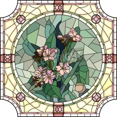 Naklejka Wektora mozaiki z dużych komórek kwiatów Forget-me-not z pąków w rundzie Witraże ramki.
