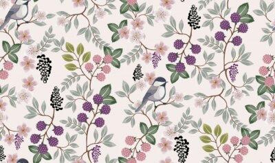 Naklejka Wektorowa ilustracja bezszwowy kwiecisty wzór z ślicznymi ptakami w wiośnie na ślub, rocznicę, urodziny i przyjęcie. Projekt banera, plakatu, karty, zaproszenia i albumu