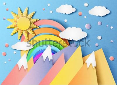Naklejka Wektorowa ilustracja piękny krajobraz z słońcem, tęczą, chmurami i górami. W stylu cięcia papieru.