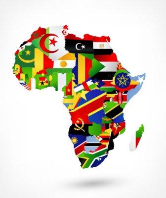 Naklejka Wektorowa mapa Afryki z flagami i umieszczeniem na mapie świata