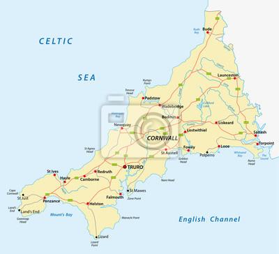 Naklejka wektorowa mapa drogowa Kornwalia, Wielka Brytania