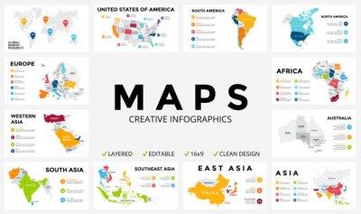 Naklejka Wektorowa mapa infografika. prezentacja slajdów. Globalna koncepcja marketingu firmy. Kolor kraju. Dane Geografia komunikacji światowej. Szablon statystyka gospodarcza. Świat, Ameryce, Afryce, Europie