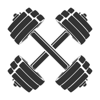 Naklejka Wektorowa ręka rysująca sylwetka krzyżujący dumbbells odizolowywający na białym tle. Szablon ikony sportu, symbolu, logo lub innej marki. Nowoczesna ilustracja retro.
