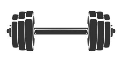 Naklejka Wektorowa ręka rysująca sylwetka odizolowywająca na białym tle dumbbell. Szablon ikony sportu, symbolu, logo lub innej marki. Nowoczesna ilustracja retro.