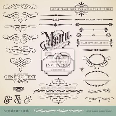 Naklejka wektorowa zestaw: elementy kaligraficzne i strony dekoracji