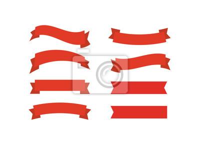 Naklejka Wektorowe czerwone wstążki. Ilustracja wektorowa promocji transparent wstążka.