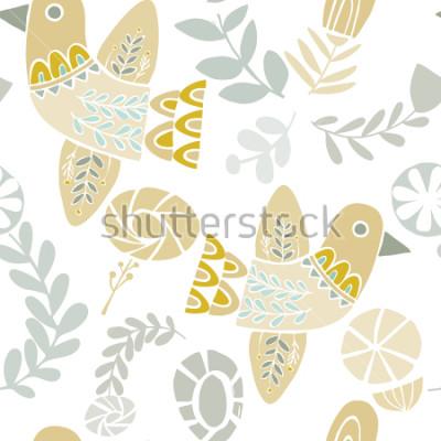 Naklejka Wektorowi pastelowi ludowi kwiaty i kwiaty na białym tle. Idealny do rzemiosła, tkanin, papieru do pakowania, tapet