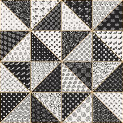 Naklejka Wektorowy abstrakcjonistyczny bezszwowy patchworku wzór od czarnych i jasnobeżowych trójboków z koronkowymi kwiecistymi ornamentami, stylizującymi różanymi kwiatami i liśćmi ,. Cienka linia cienkiego