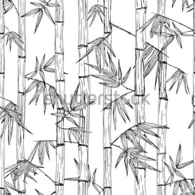 Naklejka Wektorowy bezszwowy bambusowy lasu wzór. Czarno-biały ręcznie rysowane szkic tło. Design na modne nadruki tekstylne, azjatyckie spa i masaż, pakiet kosmetyków, materiały meblowe.