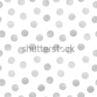 Naklejka Wektorowy bezszwowy wzór popielaci akwarela okręgi na białym tle