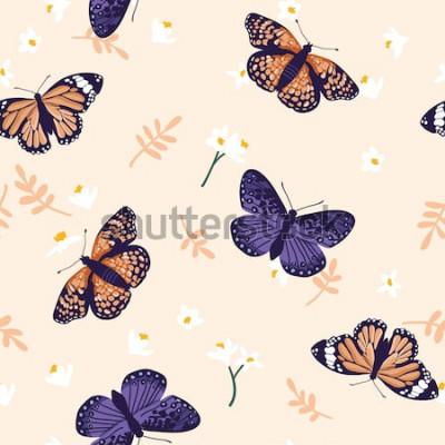 Naklejka Wektorowy bezszwowy wzór z jaskrawymi motylami. Ręcznie rysowane tekstury projektu