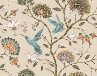 Naklejka Wektorowy bezszwowy wzór z stylizowanymi kwiatami i ptakami. Kwiat ogród z kolibrów i roślin. Lekka tapeta w kwiaty. Projektowanie tkanin, tekstyliów, tapet, okładek, papieru do pakowania.