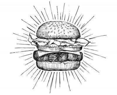 Naklejka Wektorowy rocznika hamburgeru rysunek.