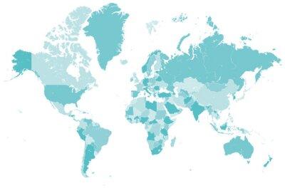 Naklejka Welt Karte blau mit Lander Grenzen Vektor Grafik