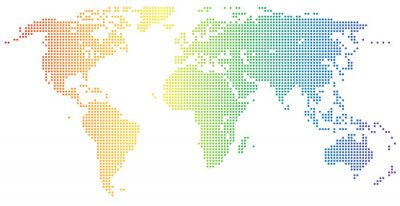 Naklejka Weltkarte - gepunktet in den Regenbogenfarben