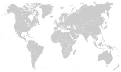 Naklejka Weltkarte - Hellgrau (Hoher Detailgrad)