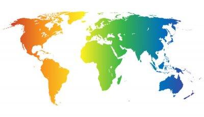 Naklejka Weltkarte w Regenbogenfarben - Vektor