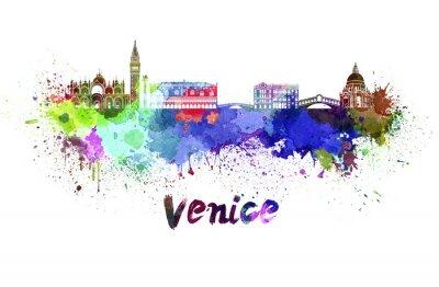 Naklejka Wenecja skyline w akwareli