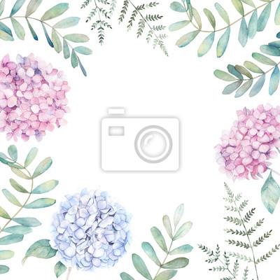 Wesele kwiatowy rama z gałęzi eukaliptusa, paproci i hortensji. Akwarela ilustracja