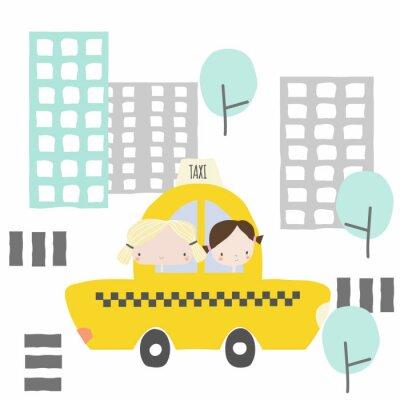 Naklejka Wesołe dziewczyny w taksówce do miasta. Grafika dla dzieci. Wektorowa ręka rysująca ilustracja.