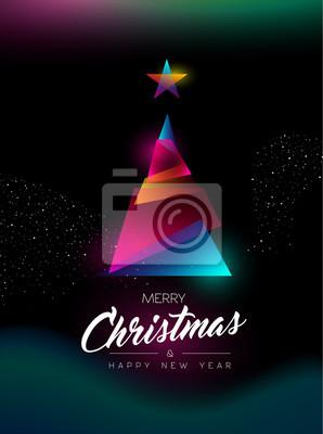 Wesołych Świąt Bożego Narodzenia blask drzewo powitanie karta z pozdrowieniami