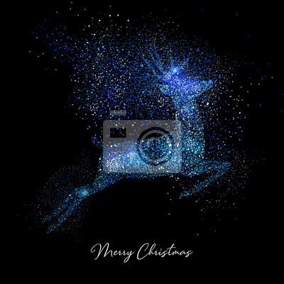 Wesołych Świąt Bożego Narodzenia niebieski brokat kształt karty renifera