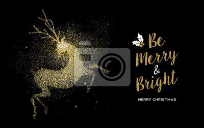 Wesołych Świąt Bożego Narodzenia złota brokat wakacje karty