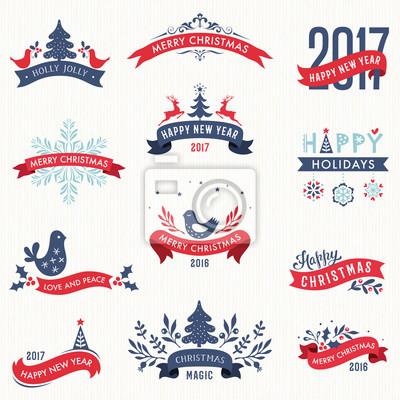 Wesołych Świąt i Nowego Roku typograficzne transparenty z elementów zimowych świąt projektowych.