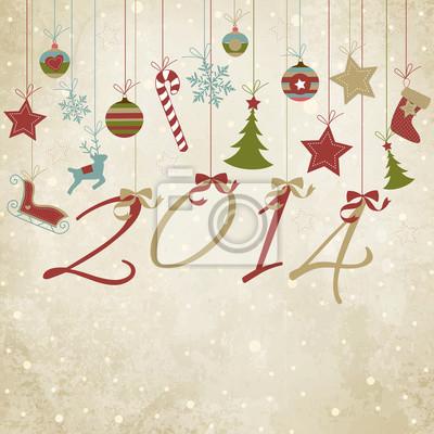 Naklejka Wesołych Świąt i Szczęśliwego Nowego Roku